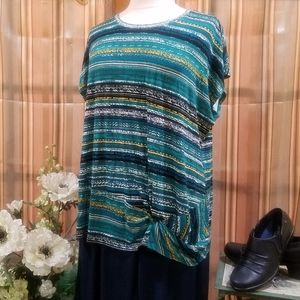 ABSTRACT STRIPE SS KNOT FRONT TOP